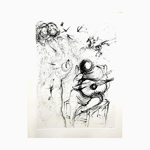Salvador Dali - Desnudo con guitarra - Grabado Original 1967