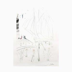 Acquaforte Salvador Dalì - The Arrival of Iseult - 1970