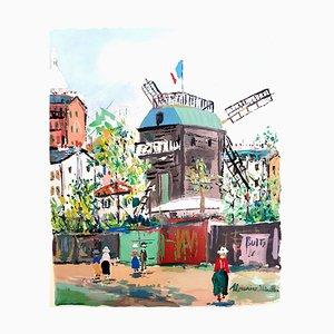Pueblo inspirado de Montmartre - Pochoir 1950
