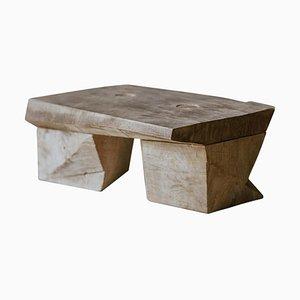 Original Sculpted Low Table in Oak Wood, Denis Milovanov