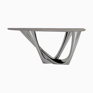 G-Console Duo Tisch aus poliertem Edelstahl mit Betonplatte, Zieta