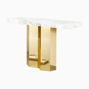 Sculptural Console in Marble and Polished Brass, Arielle Lichten