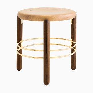 Hocker aus Messing & Holz, Leandro Garcia, Contemporary Brazil Design