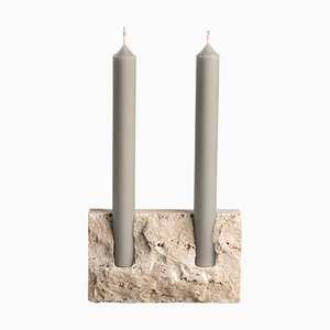 White Travertine Sculpted Candle Holder by Sanna Völker