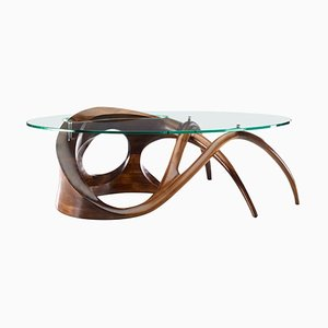 Sculpted Black Walnut Coffee Table Signed by Gildas Berthelot