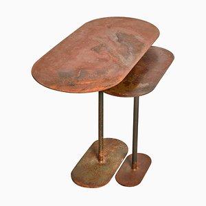 Paar oxidierter Ellipsen Tisch von Pia Chevalier signiert