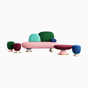 Toadstool Collection Ensemble Sofa, Table and Puffs, Masquespacio