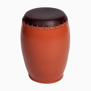 Bombo' Leather Side Table by Nestor Perkal
