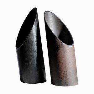 Pair of Steel Sculpted Vases, Signed by Lukas Friedrich