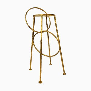 Brass Handsculpted Stool - Hoola - Misaya