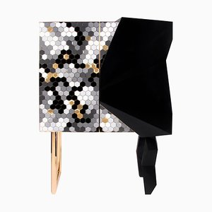 Honeycomb Black and Gold Leaf Cabinet, Royal Stranger