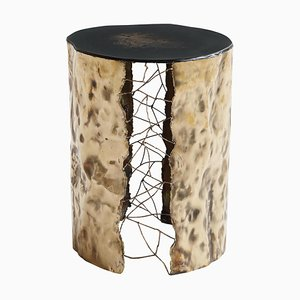 Brass Hand-Sculpted Side Table by Samuel Costantini