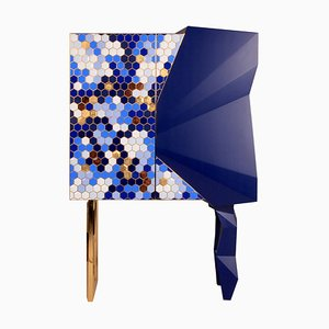 Honeycomb Blue and Gold Leaf Cabinet, Royal Stranger