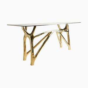 Brass Sculpted Console Table, Golden Symmetry, Misaya