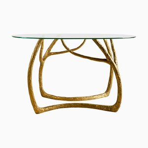 Brass Sculpted Console Table, Golden Tree, Misaya