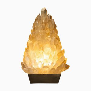 Amber Rock Crystal Table Lamp, Signed by Demian Quincke