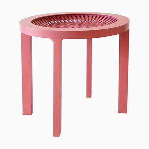 Ceramic and Maple Contemporary Pink Tea Table