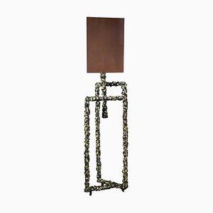 Champlevé Bronze und Messing Lampe