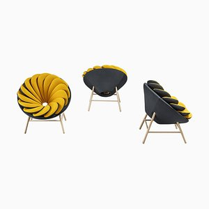 Pair of Yellow and White Quetzal Armchairs, Marc Venot