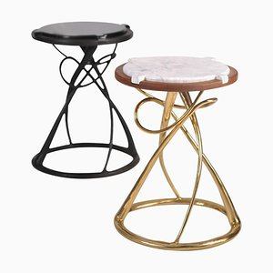 Pair of Brass Side Tables, Hourglass, Misaya