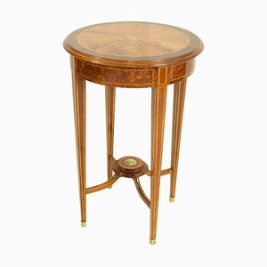 Antique Edwardian Burl and Mahogany Marquetry Side Table