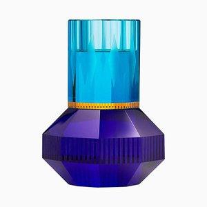 Portacandela Chicago in cristallo azzurro, cristallo contemporaneo scolpito a mano
