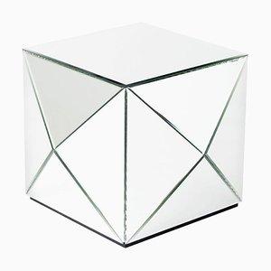 Glam Rock Silberner Couchtisch mit Spiegelglas