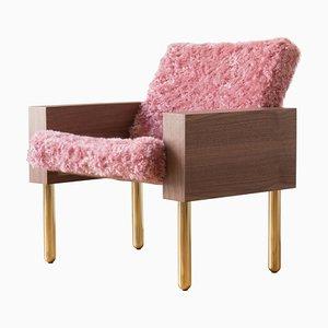 Natural Walnut ''Block'' Armchair, Jonas Lutz