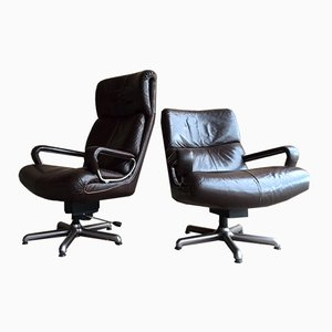 Leather Swivel Chairs from Strässle Switzerland, Set of 2