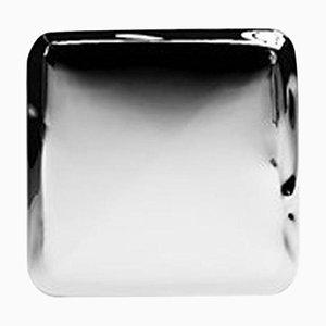 Espejo de pared Tafla Q3 de acero inoxidable pulido, años 50
