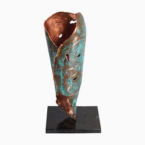 Kupfer Hand Skulpturale Vase von Samuel Costantini