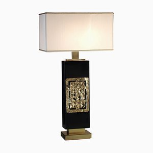 Diomede Tischlampe aus Messing und Holz