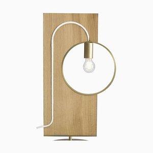 Wood and Brass ''LOOP'' Table Lamp, Filip Janssens