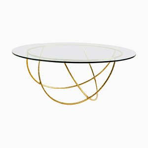 Brass Sculpted Coffee Table, Gold Basket, Misaya