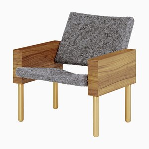 Natural Walnut ''Block'' Armchair, Jonas Lutz