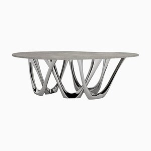 G-Table B and C, Sculptural Table in Polished Stainless Steel, Zieta