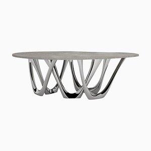 G-Table B und C, Skulpturaler Tisch aus Poliertem Edelstahl, Zieta