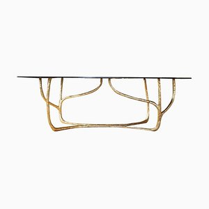 Contemporary Hand-Sculpted Brass Console, Misaya