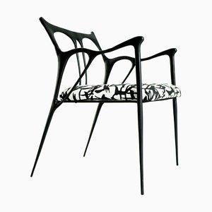 Black Brass Sculpted Chair by Misaya