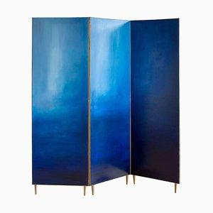 Paravent Peint à la Main Bleu, Jan Garncarek