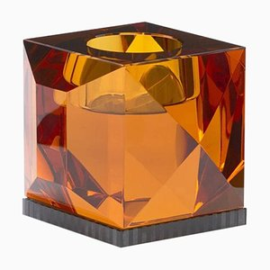 Ophelia Amber Crystal T-Light Holder, Hand-Sculpted Contemporary Crystal