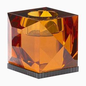 Ophelia Bernsteinfarbene Kristallglas T-Lampenfassung aus handgemeißeltem zeitgenössischem Kristallglas