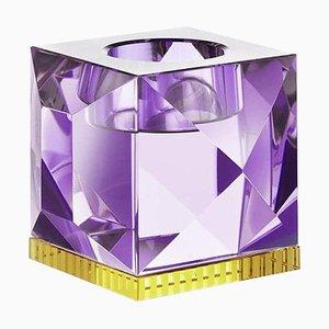 Porte-lampe Ophelia en Cristal Violet Sculpté à la Main