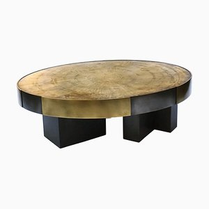 Phaux Brass Coffee Table, Signed by Stefan Leo