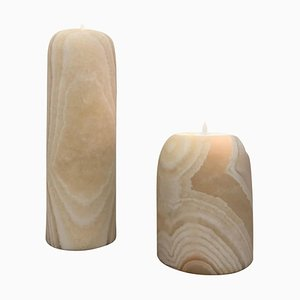 Pair of Alabaster Candleholders Sculpted by Omar Chakil