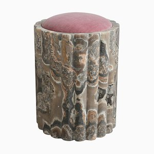 Marguerite Alabaster Stool Sculpted by Omar Chakil