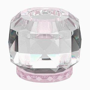 Texas Rose Crystal T-Light Holder, Sculpté à la Main en Cristal Contemporain