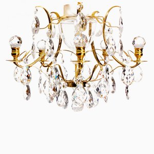 Vintage Swedish Brass Chandelier with Almond and Orb-Shaped Crystals