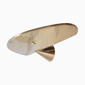 Großes Schwebendes Regal aus poliertem Messing von Chanel Kapitanj signiert