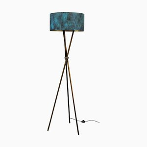 Croisette Brass Floor Lamp, Signed by Stefan Leo